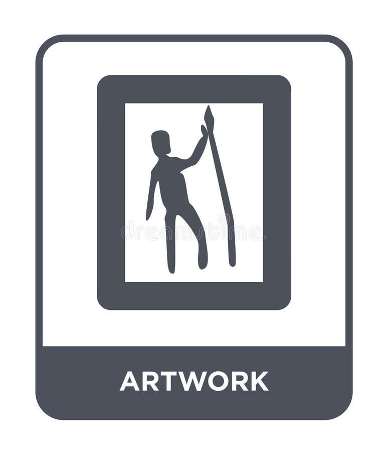 kunstwerkpictogram in in ontwerpstijl kunstwerkpictogram dat op witte achtergrond wordt geïsoleerd eenvoudige en moderne vlakke s vector illustratie