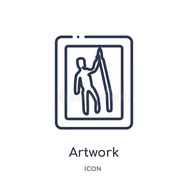 Kunstwerkpictogram van de inzameling van het museumoverzicht Het dunne die pictogram van het lijnkunstwerk op witte achtergrond w vector illustratie