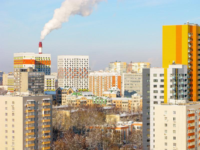 Kuntsevo residential district in Moscow, Russia. Urban skyline. Kuntsevo residential sleeping district in Moscow, Russia. Colorful houses of different heights royalty free stock image