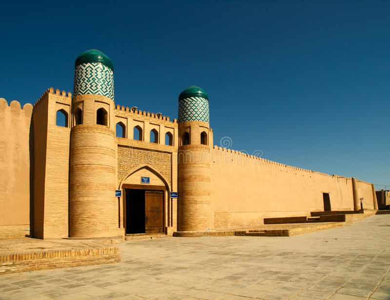Kunya ark gates. Gates and wall of the Kunya-ark citadel in Khiva, Uzbekistan stock image