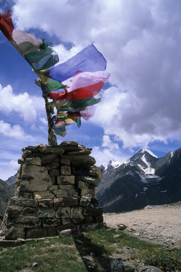 Kunzum La. Prayer flags, Kunzum La, Spiti, India royalty free stock photo
