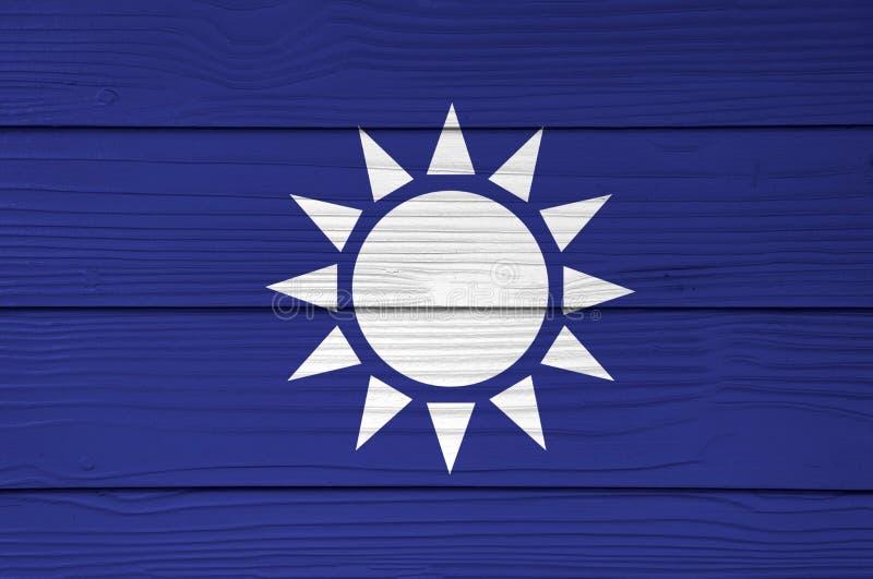Kuomintang flagi kolor malujący na włókno cementu prześcieradła ściany tle royalty ilustracja