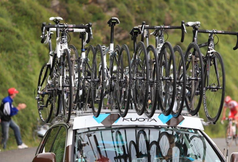 Kuota bikes of AG2R La Mondiale team royalty free stock photography