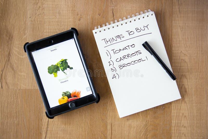 Kup warzywny koncept online fotografia stock