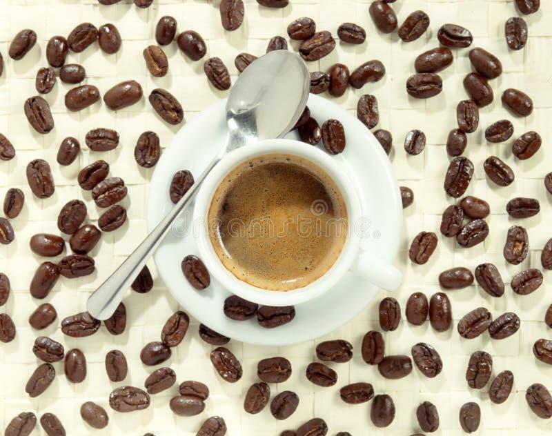 Kupa av foamy kaffe som omges av kaffebönor fotografering för bildbyråer