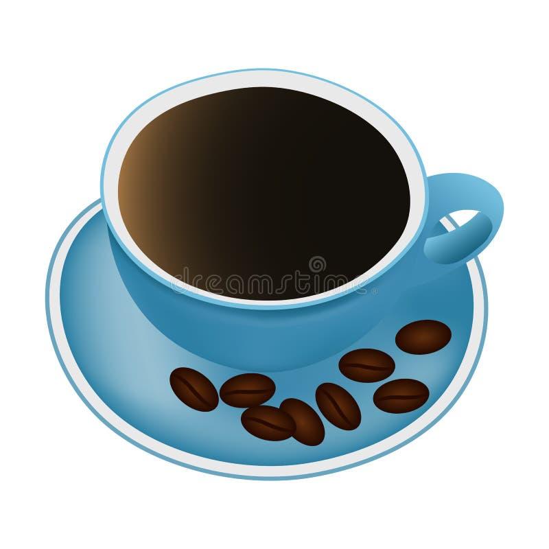 Kupa av kaffe och kaffeb?nor vektor illustrationer