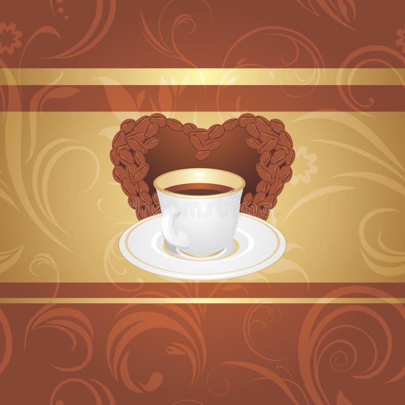 Kupa av kaffe på den dekorativa bakgrunden royaltyfri illustrationer