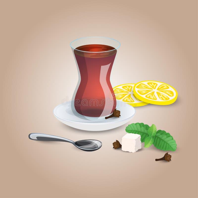 Kupa av Tea Svart mintkaramell, citronte, tesked Iillustration för kafé, meny, kub för restauranglistasocker och citronskivor stock illustrationer