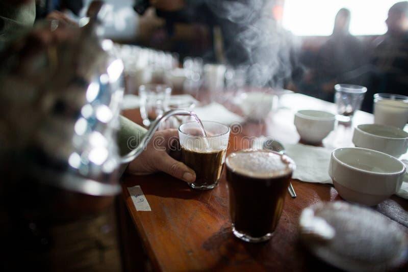 Kupa för process kaffeprovning arkivbild