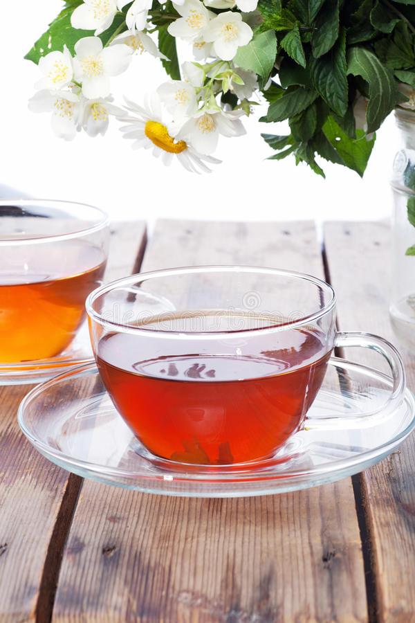 Kupa med grön tea och nya örtar royaltyfri foto