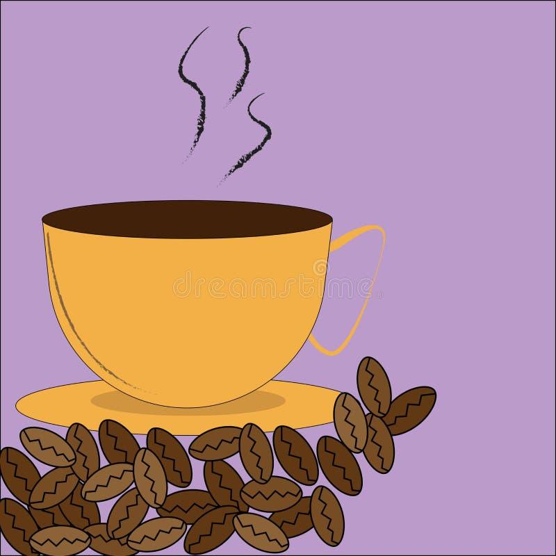 Kupa med kaffebönor royaltyfri illustrationer