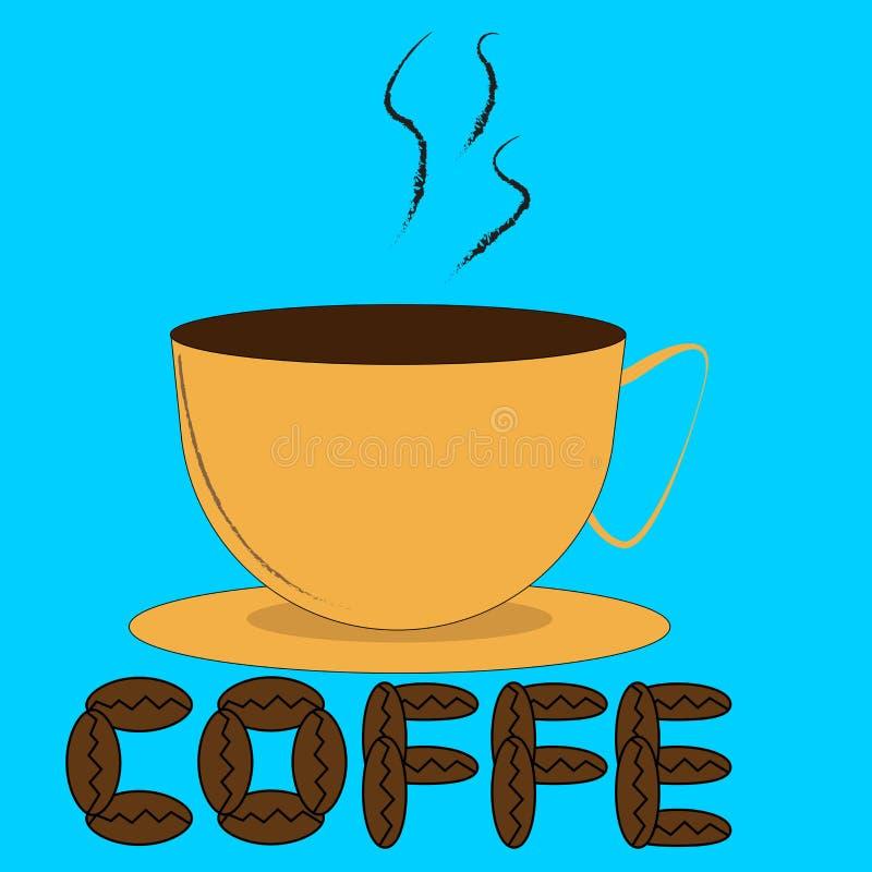 Kupa och kaffebönor vektor illustrationer
