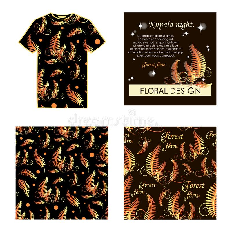 Kupala noc Złota paproć Set: Koszulka, pocztówka, wzór royalty ilustracja