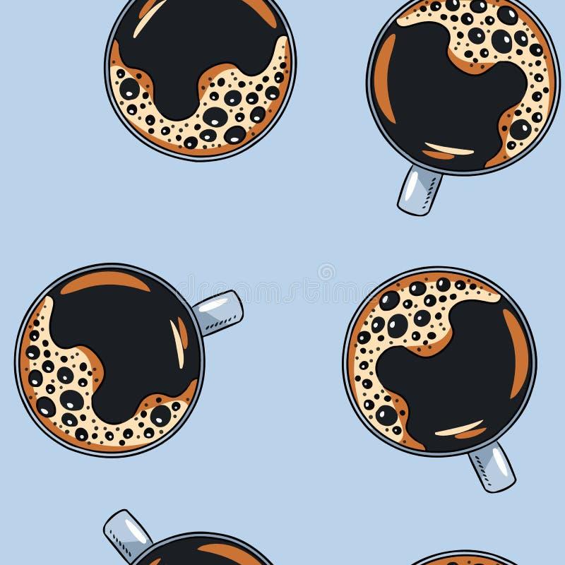 Kuper av kaffe Rånar den utdragna gulliga tecknade filmen för handen den sömlösa modellen Texturbakgrundstegelplatta royaltyfri illustrationer