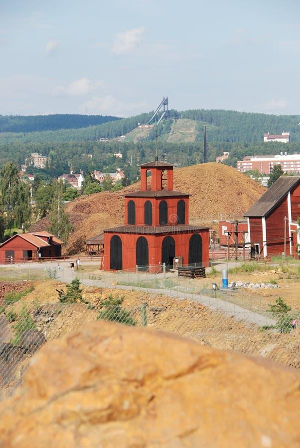 Kupfermine Falun UNESCO-Welterbe lizenzfreie stockfotos