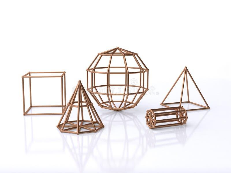 Kupferne geometrische Form des Drahtes und Formrahmen 3d übertragen stock abbildung