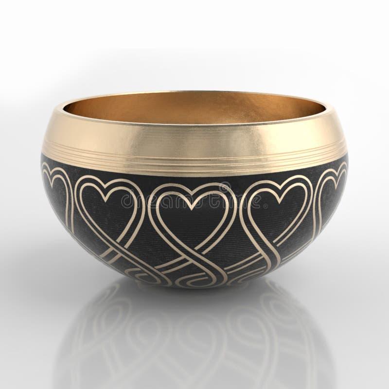 Kupferne Gesangschüsseln, die für Meditation benutzt werden lizenzfreie stockbilder