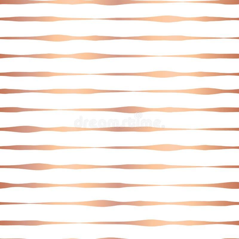 Kupferne gezeichnete horizontale Linien nahtloses Vektormuster der Folie Hand Rosen-Goldgewellte unregelmäßige Streifen auf weiße lizenzfreie abbildung