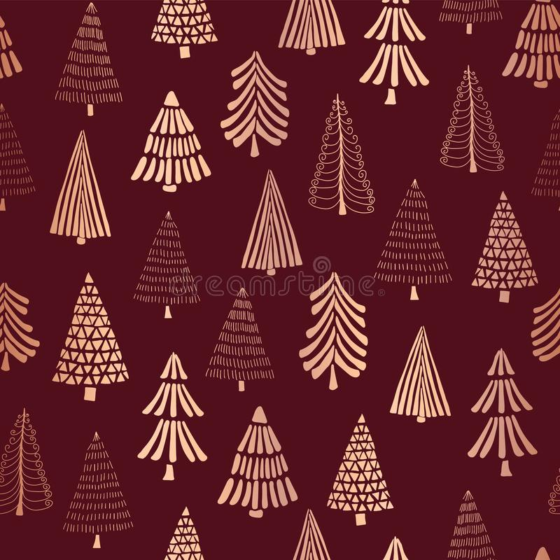 Kupferner Vektormusterhintergrund der Foliengekritzel Weihnachtsbäume nahtloser Goldene Bäume der metallischen glänzenden Rose au vektor abbildung