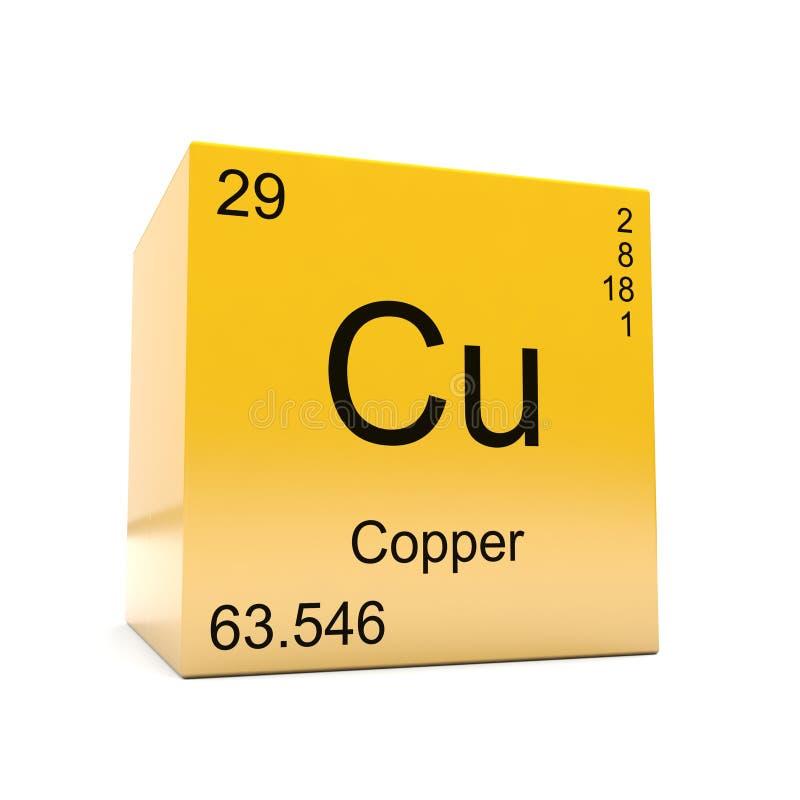 Kupfernes Symbol des chemischen Elements vom Periodensystem lizenzfreie abbildung
