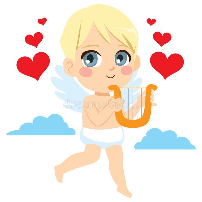 Kupidon Angel With Harp stock illustrationer