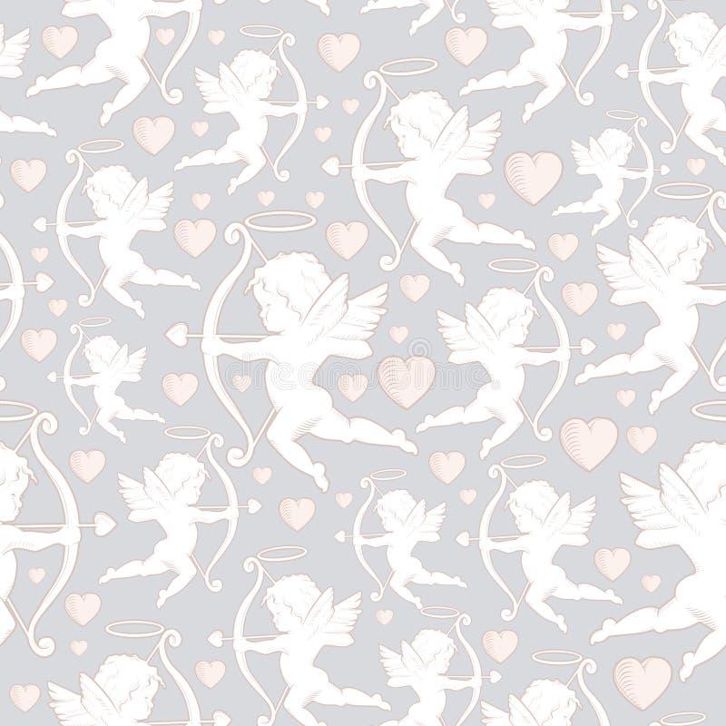 Kupidon med pilbågar, pilar och hjärtor, sömlös textur stock illustrationer