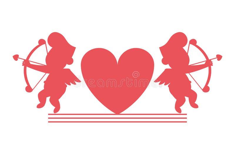 Kupidon och hjärtakonturer stock illustrationer