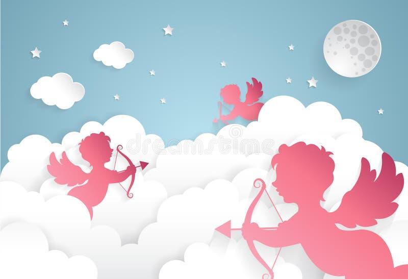 Kupidon på himmel, lycklig valentindag, papperssnitt stock illustrationer