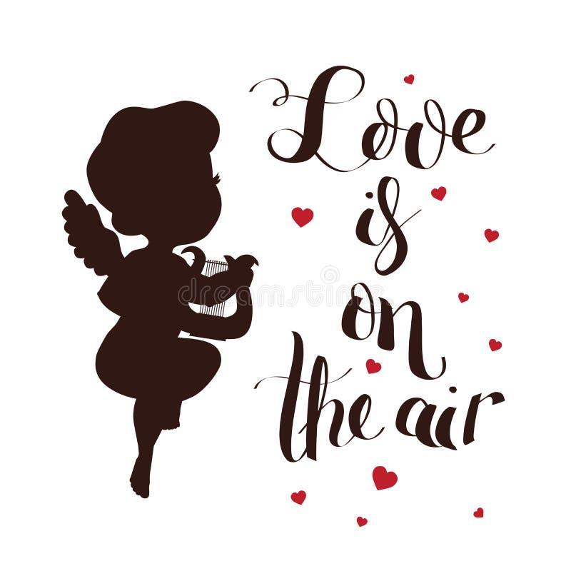 Kupidonförälskelsekonturn med harpan och förälskelse är på luften stock illustrationer