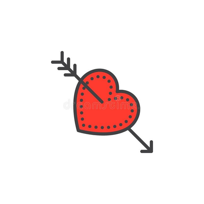 Kupidonpil i hjärtalinjen symbol, fyllt översiktsvektortecken, linjär färgrik pictogram som isoleras på vit stock illustrationer