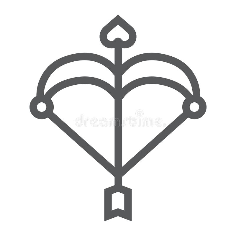 Kupidonpilbågelinje symbol, förälskelse och valentin, pil med ett hjärtatecken, vektordiagram, en linjär modell på ett vitt royaltyfri illustrationer