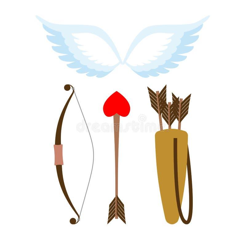 Kupidonvapenuppsättning Pilbåge och pil med hjärta Darrning med pilar stock illustrationer