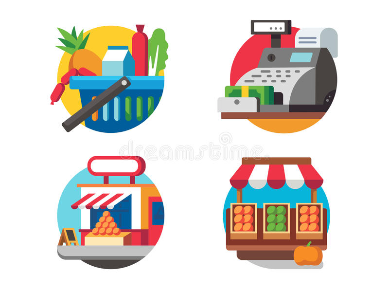 Kupienia jedzenie w supermarkecie ilustracji