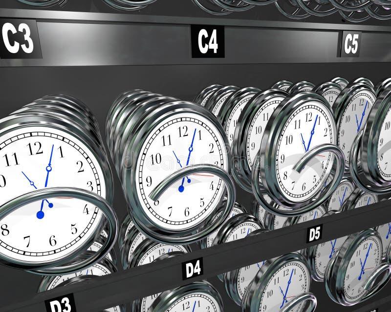 Kupienie czasu zegary w przekąska automacie ilustracja wektor