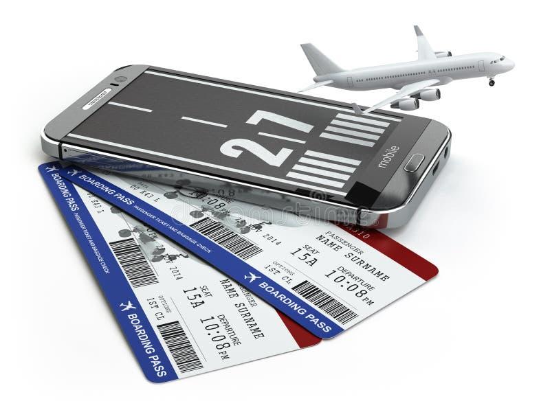 Kupienie linii lotniczej biletów online pojęcie Smartphone lub mobilny pho ilustracji