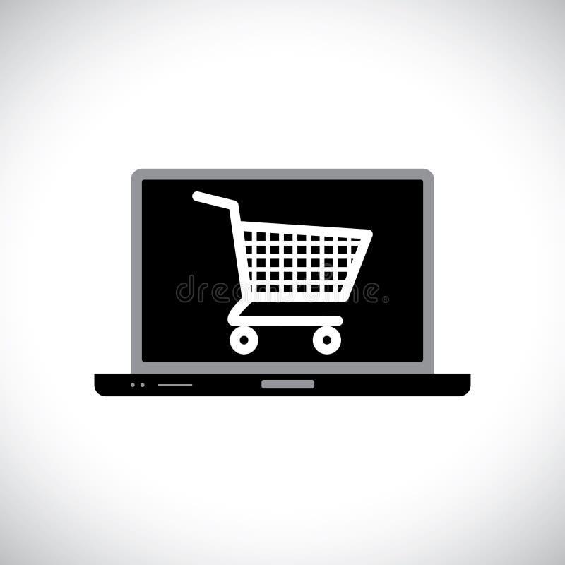 Kupienie lub zakupy komputer online używać ilustracja wektor