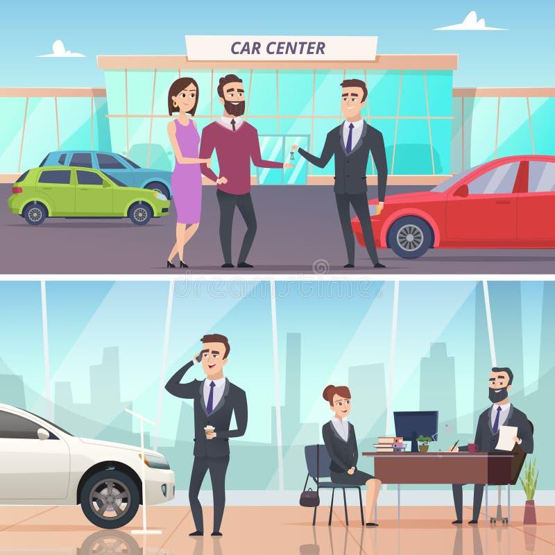 kupienie samoch?d Sprzedaje samochód w samochodowych powystawowych reklamowych sztandaru pojęcia wektoru charakterach i dzierżawi ilustracja wektor