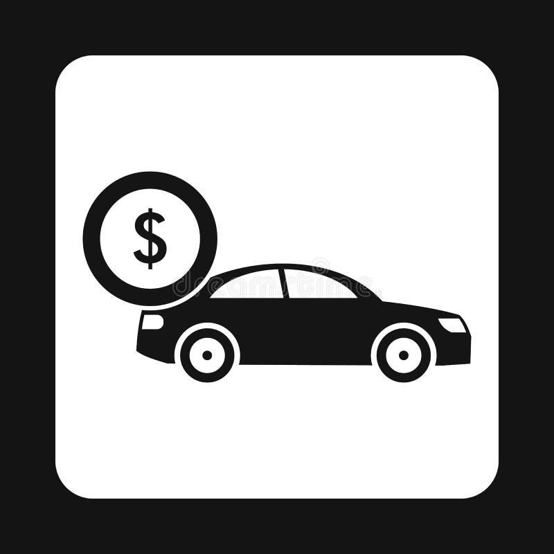 Kupienie samochodowa ikona, prosty styl royalty ilustracja