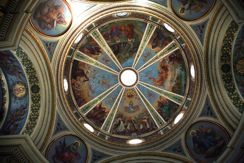 Kupol av den kyrkliga Stella Maris, berg Karmel, Haifa royaltyfria foton