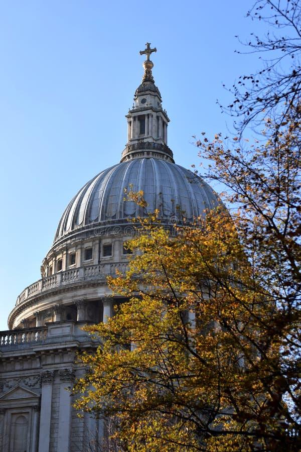 Kupol av en SaintÂs den Paul domkyrkan i London royaltyfri fotografi