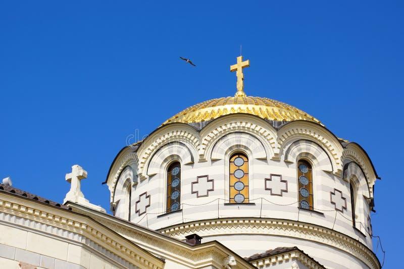 Kupol av kyrkan av St Vladimir Hersonissos crimea royaltyfria foton