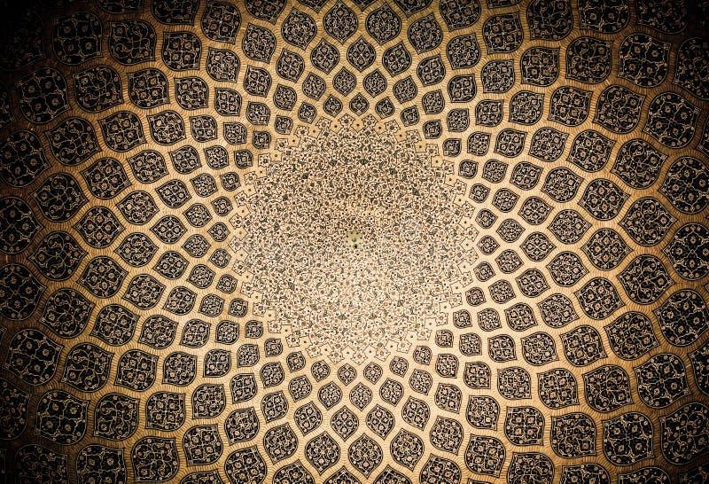 Kupol av moskén, orientaliska prydnadar från Isfahan royaltyfria foton
