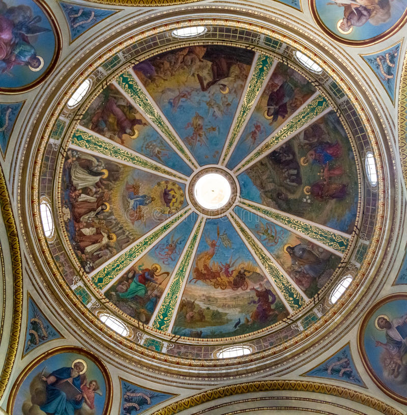 Kupolen av Stella Maris Monastery i Haifa, Israel arkivbild