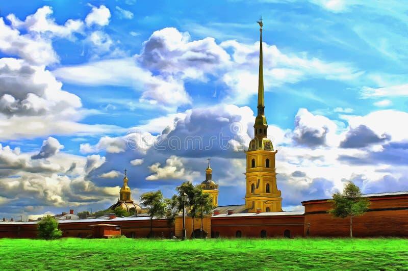 Kupoler av domkyrkor bak fästningväggen av Peter och Paul Fortress royaltyfri illustrationer