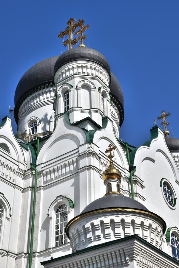 Kupoler av förklaringdomkyrkan på revolutionaveny i Voronezh, Ryssland arkivbilder