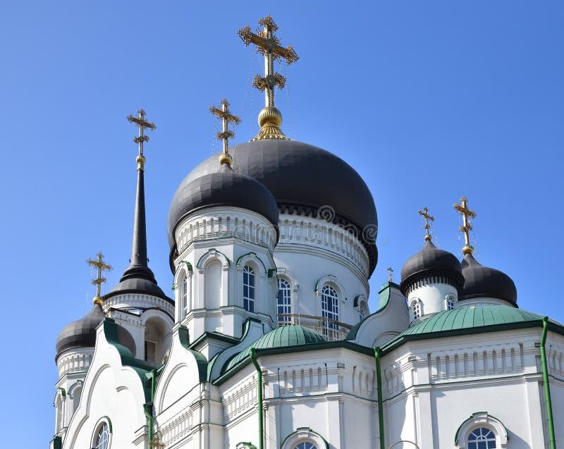 Kupoler av förklaringdomkyrkan på revolutionaveny i Voronezh, Ryssland royaltyfria foton