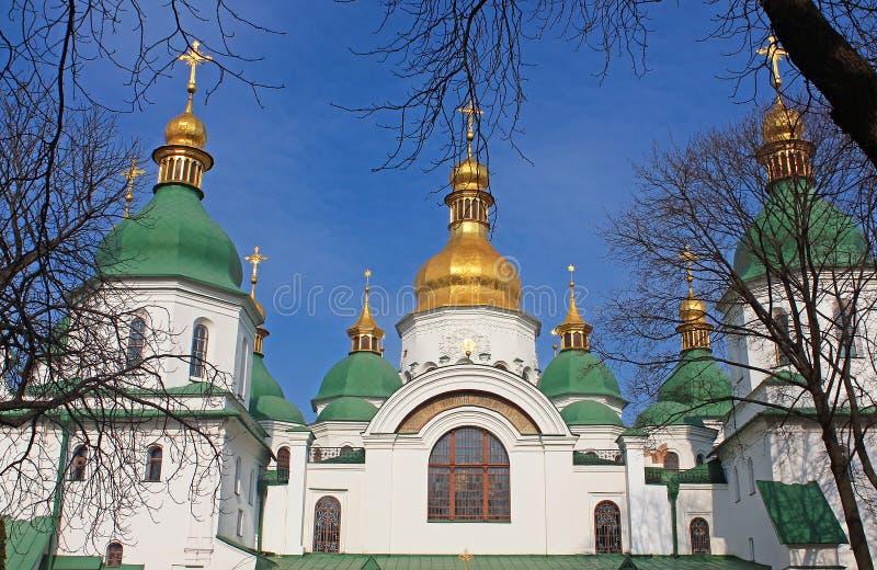 Kupoler av helgonet Sophia Cathedral i Kyiv, Ukraina royaltyfria bilder