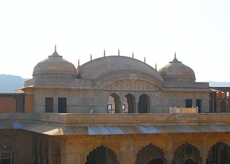 Kupoler i Amer Fort, Jaipur, Rajasthan, Indien arkivbilder