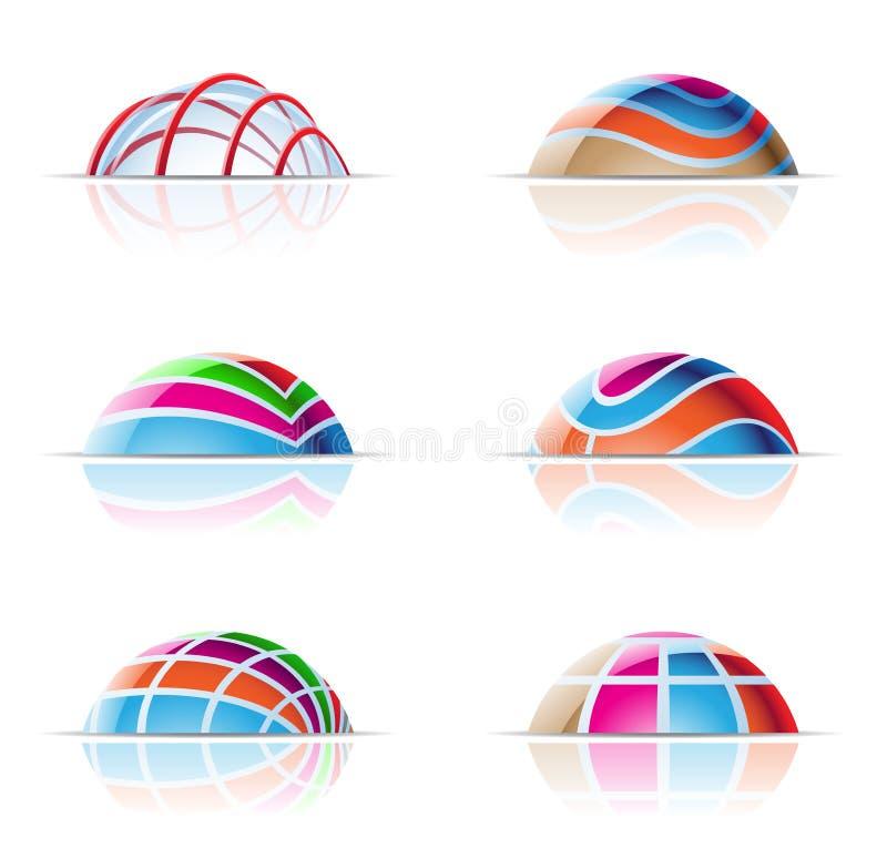 kupolexponeringsglassymboler royaltyfri illustrationer