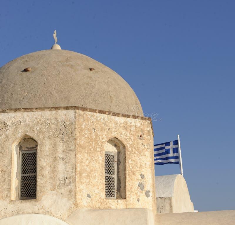 Kupolformig grekisk kyrka arkivfoton